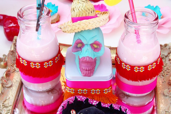 Milk bottles from a Frida Kahlo Day of the Dead Inspired Fiesta on Kara's Party Ideas | KarasPartyIdeas.com (15)