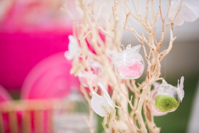 Tree decoration with glass bulbs from a Garden Tea Party on Kara's Party Ideas   KarasPartyIdeas.com (23)