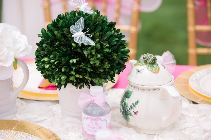 Garden topiary and tea kettle from a Garden Tea Party on Kara's Party Ideas | KarasPartyIdeas.com (14)
