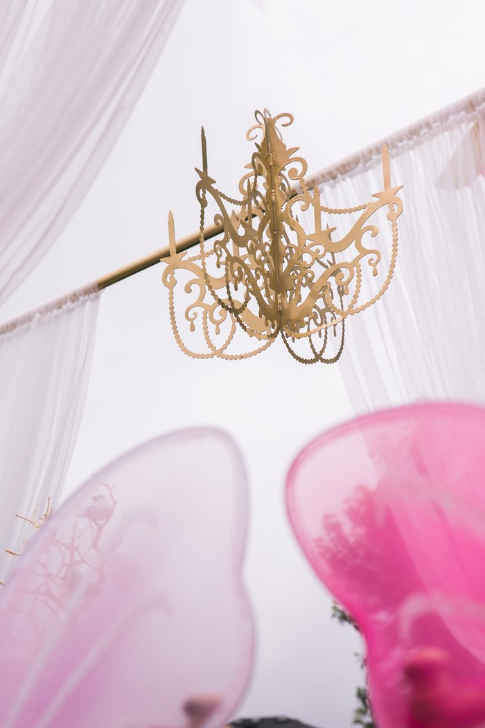 Gold chandelier from a Garden Tea Party on Kara's Party Ideas | KarasPartyIdeas.com (13)