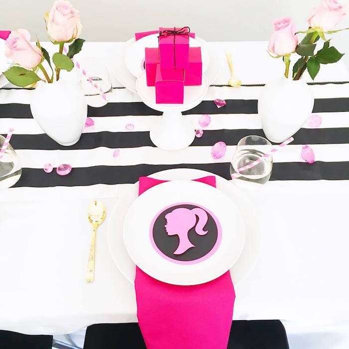 Place setting from a Glam Barbie Birthday Party on Kara's Party Ideas | KarasPartyIdeas.com (13)