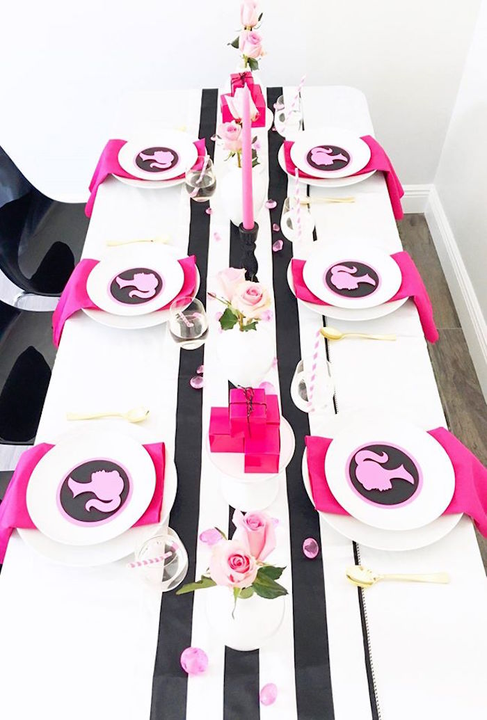 Guest table from a Glam Barbie Birthday Party on Kara's Party Ideas | KarasPartyIdeas.com (12)
