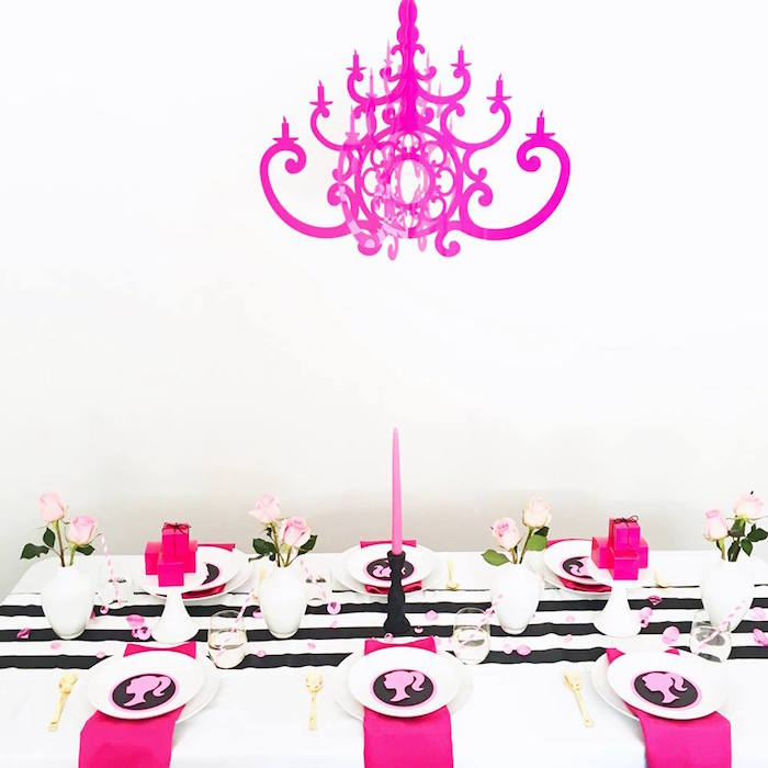 Dining tablescape from a Glam Barbie Birthday Party on Kara's Party Ideas | KarasPartyIdeas.com (10)