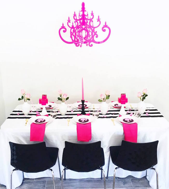 Guest table from a Glam Barbie Birthday Party on Kara's Party Ideas | KarasPartyIdeas.com (9)