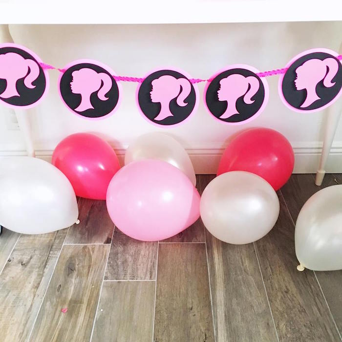 Barbie silhouette banner + balloons from a Glam Barbie Birthday Party on Kara's Party Ideas | KarasPartyIdeas.com (8)