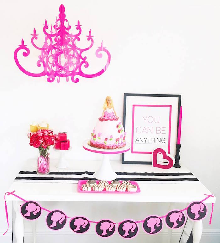 Cake table from a Glam Barbie Birthday Party on Kara's Party Ideas | KarasPartyIdeas.com (6)