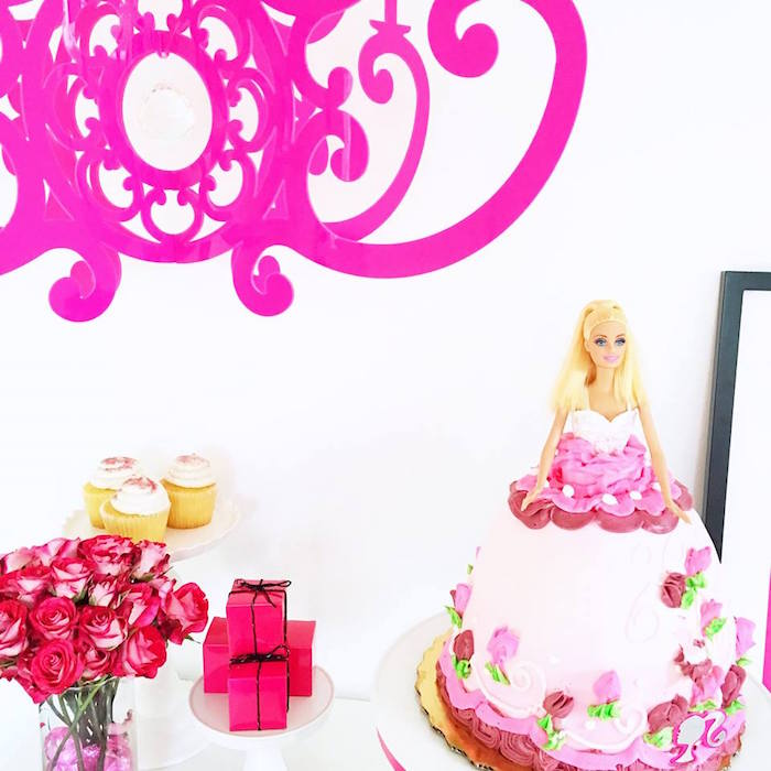 Barbie Cake from a Glam Barbie Birthday Party on Kara's Party Ideas | KarasPartyIdeas.com (22)