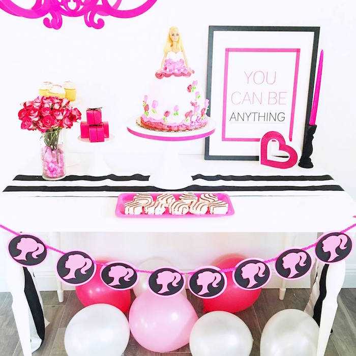 Sweet table detail from a Glam Barbie Birthday Party on Kara's Party Ideas | KarasPartyIdeas.com (19)