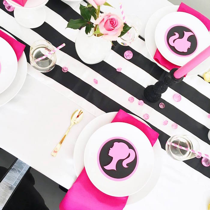 Overhead-view of a Barbie place setting from a Glam Barbie Birthday Party on Kara's Party Ideas | KarasPartyIdeas.com (18)