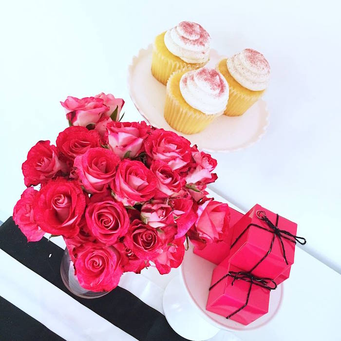 Roses, cupcakes and hot pink favor boxes from a Glam Barbie Birthday Party on Kara's Party Ideas | KarasPartyIdeas.com (16)