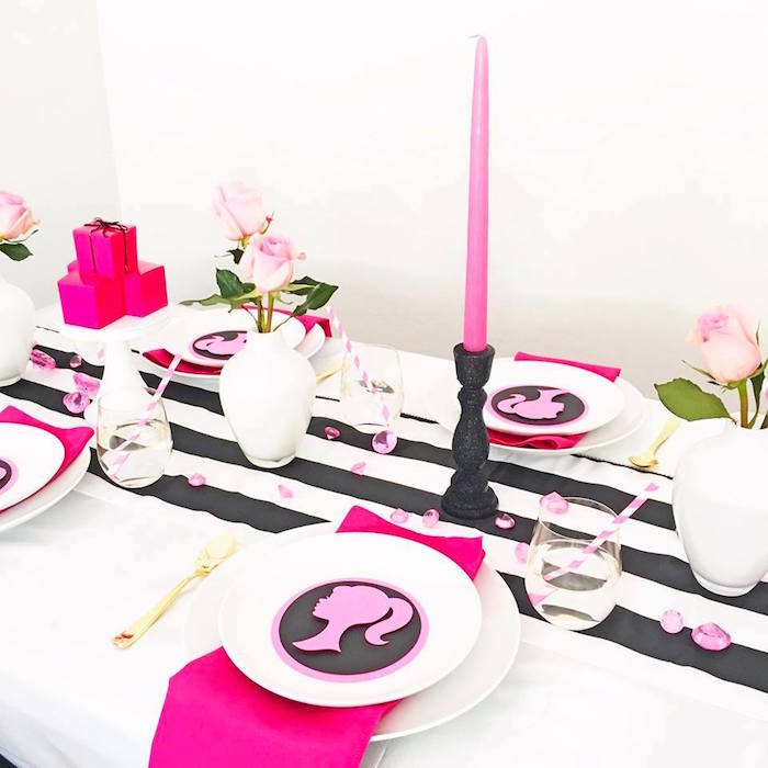 Place setting from a Glam Barbie Birthday Party on Kara's Party Ideas | KarasPartyIdeas.com (15)