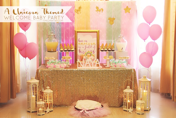 Kara 39 s party ideas glittery unicorn welcome baby party for Baby welcome party decoration ideas