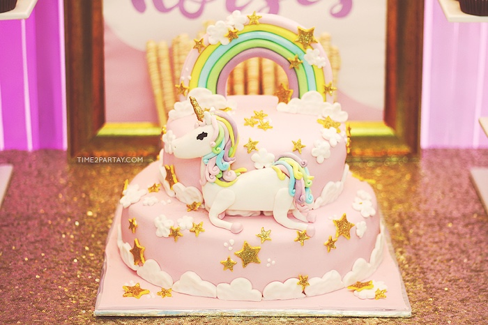 Unicorn cake from a Glittery Unicorn Welcome Baby Party on Kara's Party Ideas | KarasPartyIdeas.com (11)