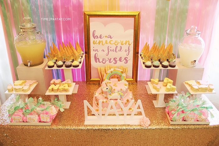 Sweet table from a Glittery Unicorn Welcome Baby Party on Kara's Party Ideas | KarasPartyIdeas.com (10)