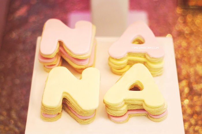 Letter cookies from a Glittery Unicorn Welcome Baby Party on Kara's Party Ideas   KarasPartyIdeas.com (8)