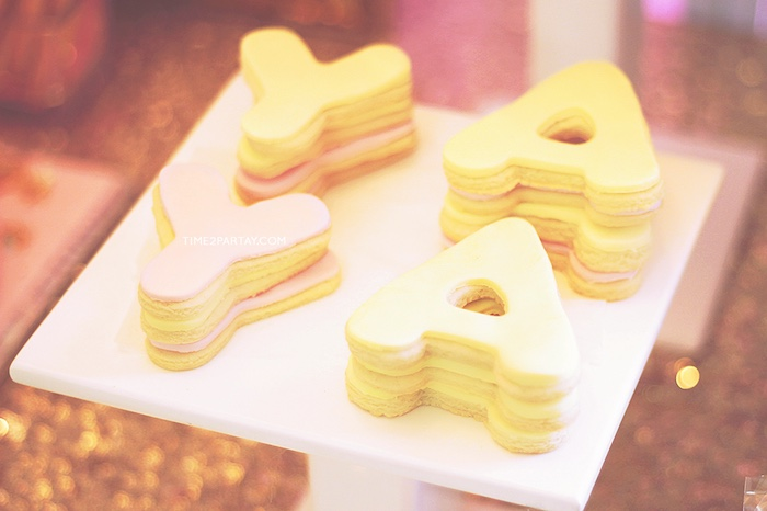 Letter cookies from a Glittery Unicorn Welcome Baby Party on Kara's Party Ideas | KarasPartyIdeas.com (7)