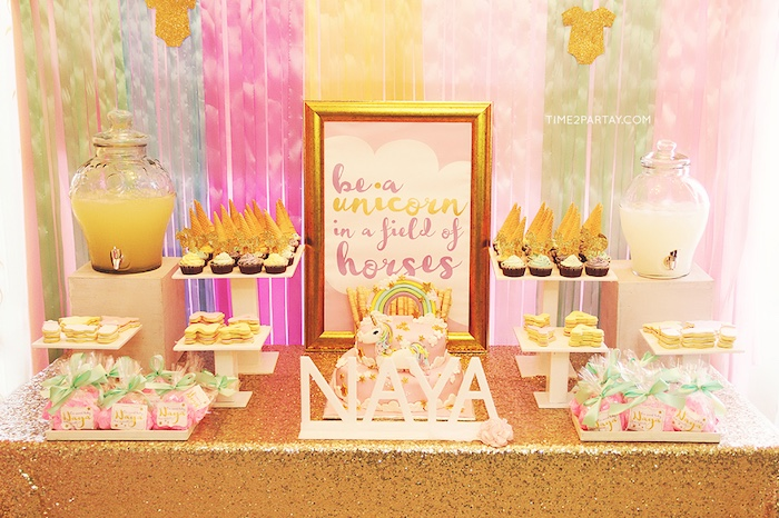 Dessert table from a Glittery Unicorn Welcome Baby Party on Kara's Party Ideas | KarasPartyIdeas.com (6)