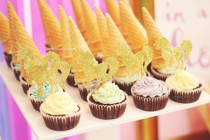 Unicorn cupcakes from a Glittery Unicorn Welcome Baby Party on Kara's Party Ideas | KarasPartyIdeas.com (5)