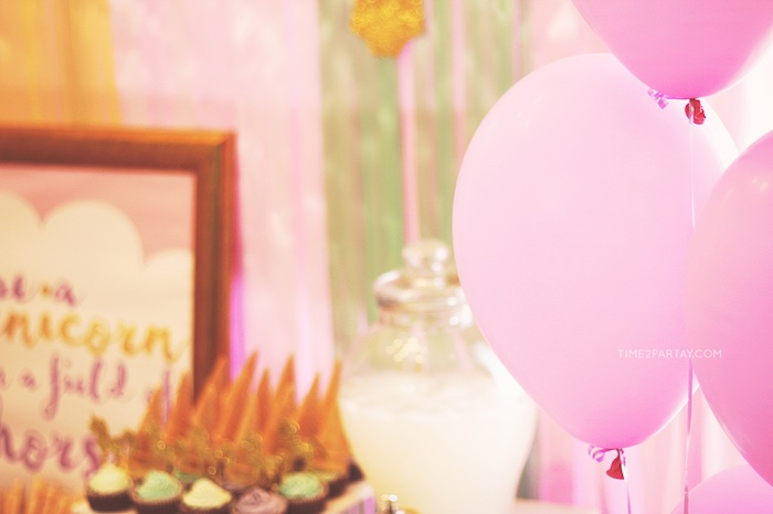 Floating pink balloons from a Glittery Unicorn Welcome Baby Party on Kara's Party Ideas | KarasPartyIdeas.com (4)