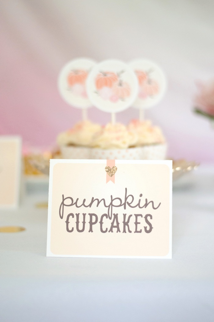 Tent card sweet label from a Gold + Glitter Our Little Pumpkin Birthday Party on Kara's Party Ideas | KarasPartyIdeas.com (11)