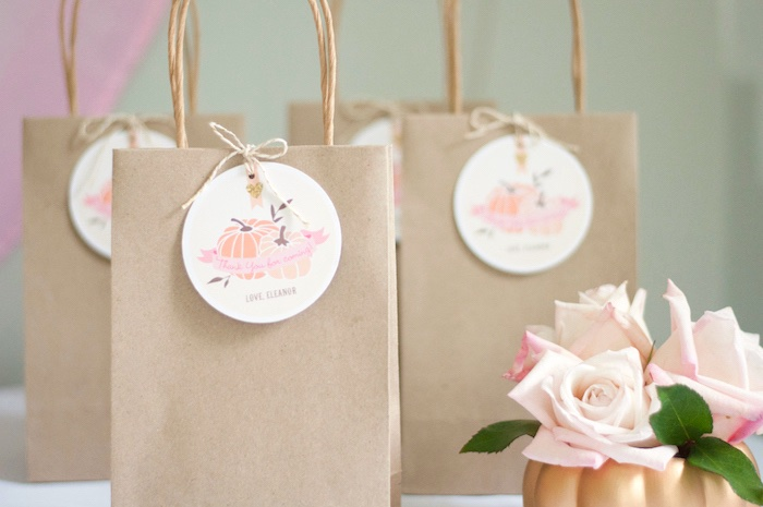 Brown favor/gift bags from a Gold + Glitter Our Little Pumpkin Birthday Party on Kara's Party Ideas | KarasPartyIdeas.com (10)