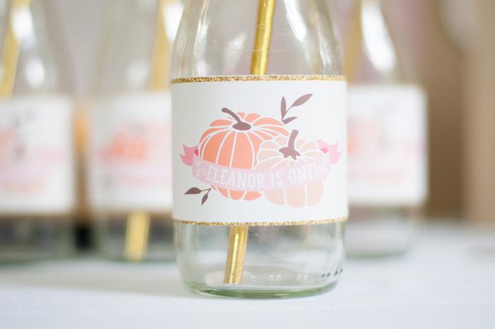 Pumpkin drink label from a Gold + Glitter Our Little Pumpkin Birthday Party on Kara's Party Ideas | KarasPartyIdeas.com (5)