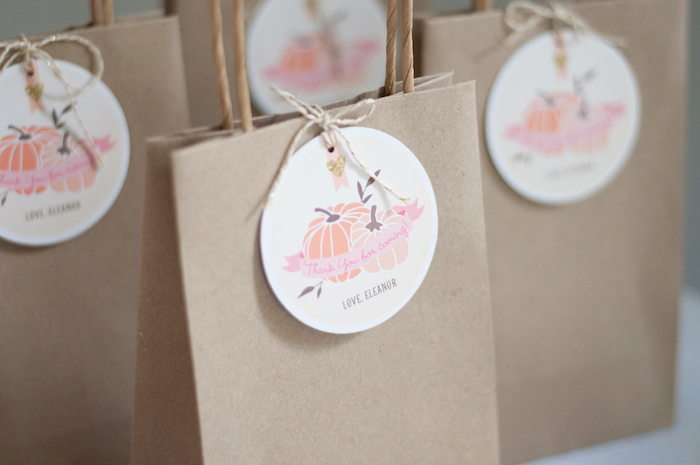 Pumpkin favor bag tag from a Gold + Glitter Our Little Pumpkin Birthday Party on Kara's Party Ideas | KarasPartyIdeas.com (4)