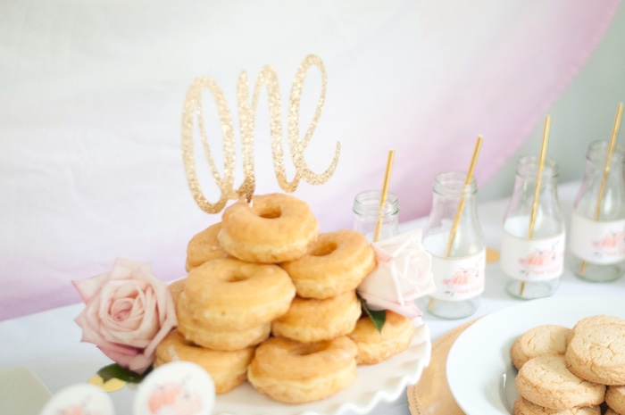 Donuts & drink bottles from a Gold + Glitter Our Little Pumpkin Birthday Party on Kara's Party Ideas | KarasPartyIdeas.com (21)