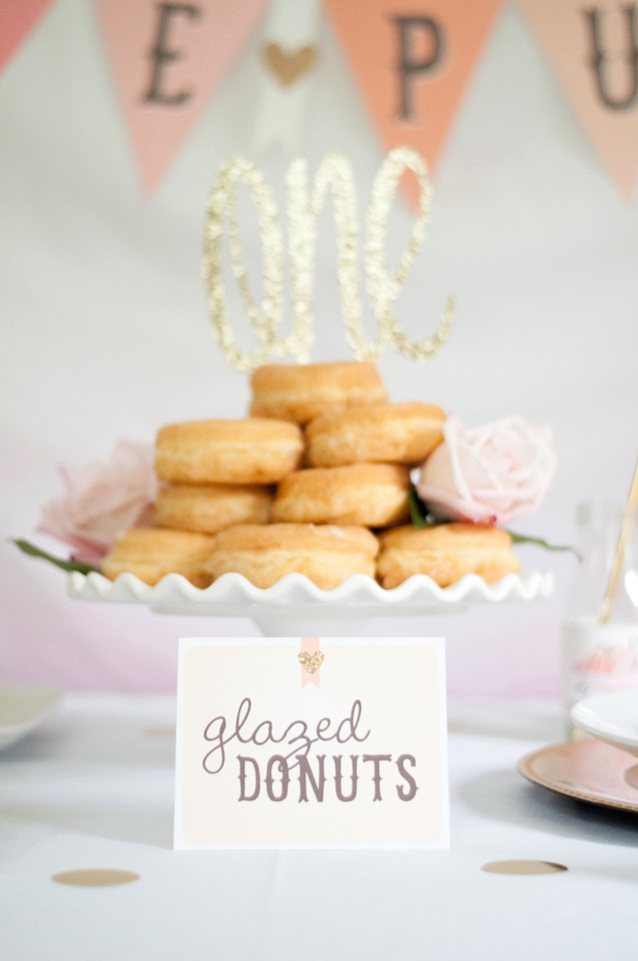 Glazed donuts label from a Gold + Glitter Our Little Pumpkin Birthday Party on Kara's Party Ideas | KarasPartyIdeas.com (20)