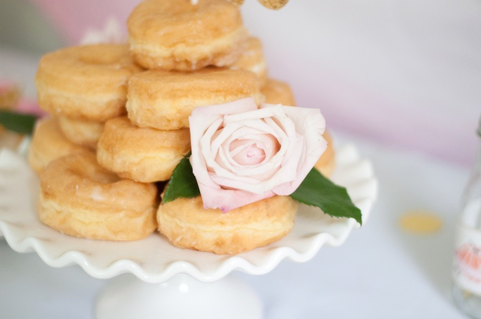 Single rose adorning stacked glazed donuts from a Gold + Glitter Our Little Pumpkin Birthday Party on Kara's Party Ideas | KarasPartyIdeas.com (18)