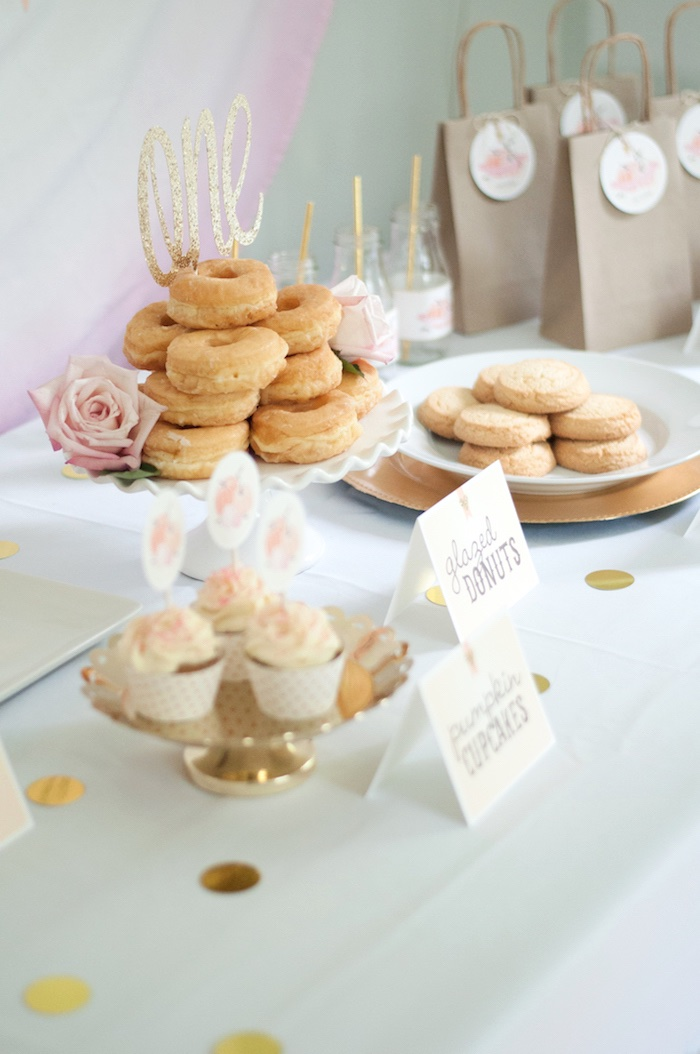 Sweets & treats from a Gold + Glitter Our Little Pumpkin Birthday Party on Kara's Party Ideas | KarasPartyIdeas.com (17)