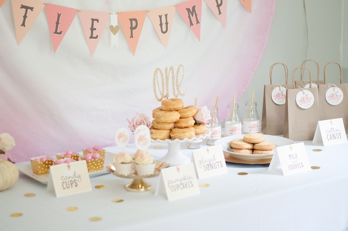 Sweet table setup from a Gold + Glitter Our Little Pumpkin Birthday Party on Kara's Party Ideas | KarasPartyIdeas.com (16)