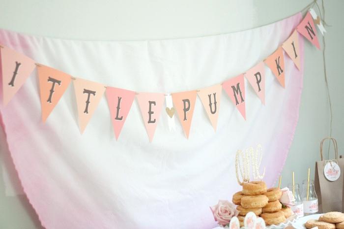 Little Pumpkin Banner from a Gold + Glitter Our Little Pumpkin Birthday Party on Kara's Party Ideas | KarasPartyIdeas.com (15)