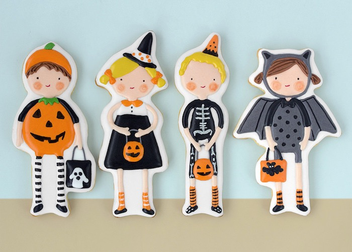 kids in costume cookies from a halloween party for kids on karau0027s party ideas
