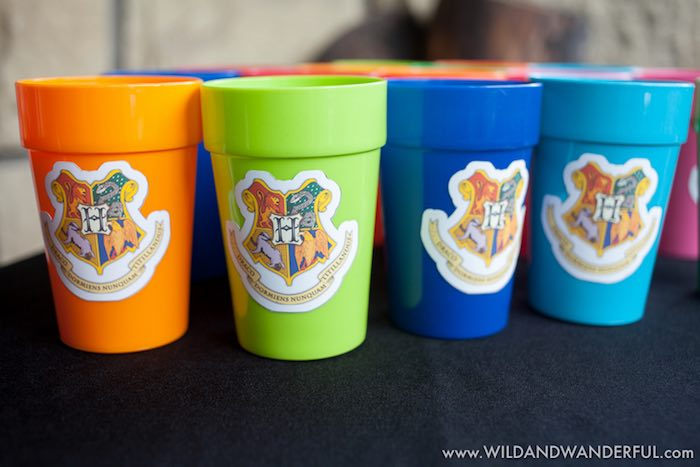 Cups adorned with Harry Potter house logos from a Harry Potter Birthday Party on Kara's Party Ideas | KarasPartyIdeas.com (31)