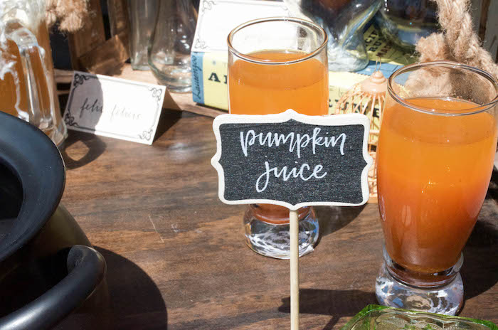 Pumpkin juice from a Harry Potter Birthday Party on Kara's Party Ideas | KarasPartyIdeas.com (22)