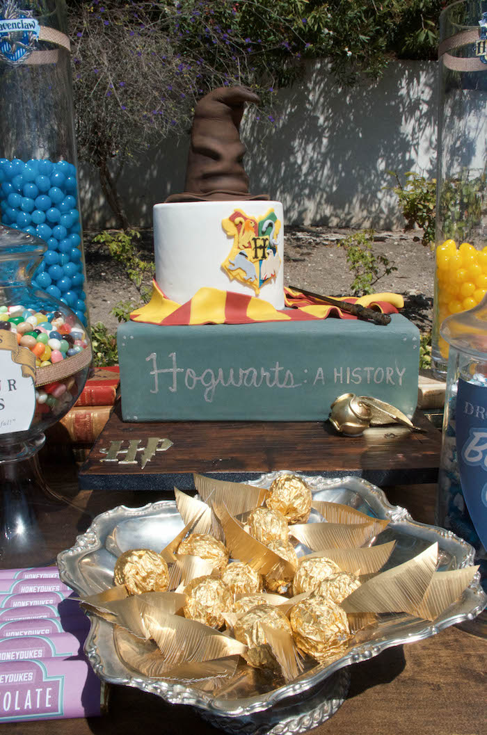 Golden Snitch truffles and Hogwarts Textbook Cake from a Harry Potter Birthday Party on Kara's Party Ideas | KarasPartyIdeas.com (13)