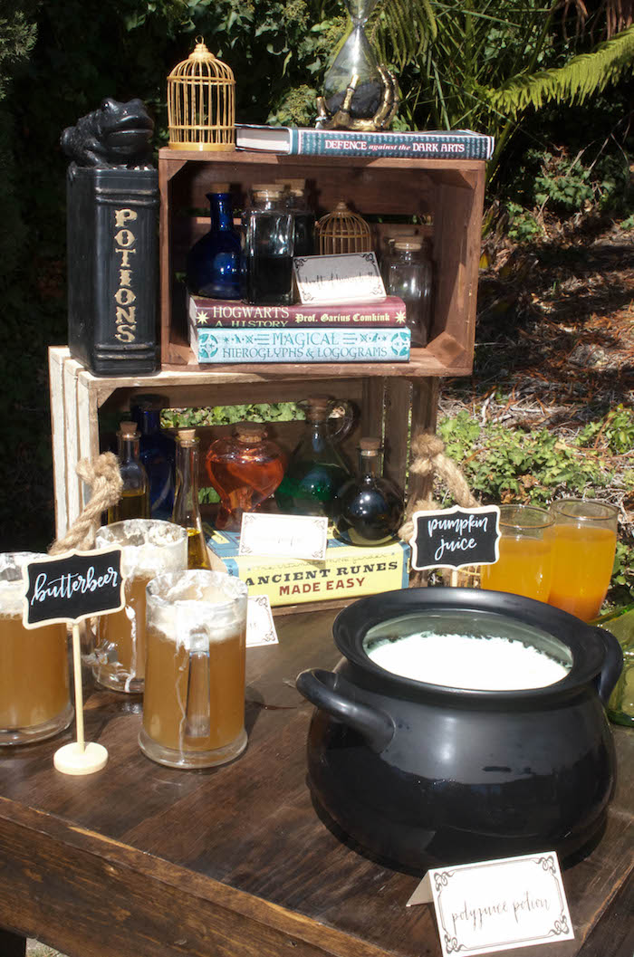 Beverage table from a Harry Potter Birthday Party on Kara's Party Ideas | KarasPartyIdeas.com (10)
