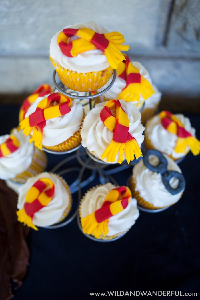 Scarf and glasses cupcakes from a Harry Potter Birthday Party on Kara's Party Ideas | KarasPartyIdeas.com (18)