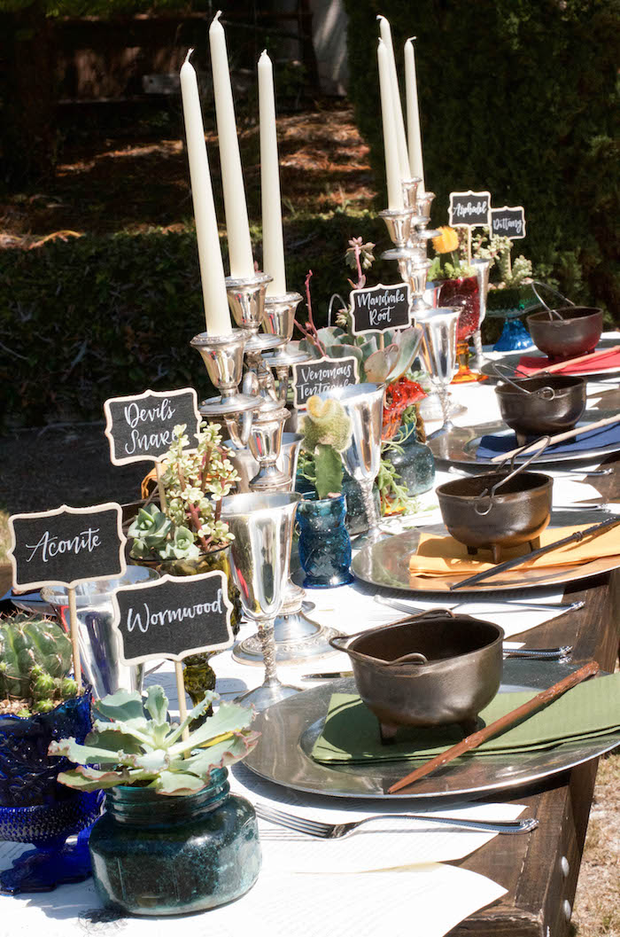 Guest tablescape from a Harry Potter Birthday Party on Kara's Party Ideas | KarasPartyIdeas.com (29)