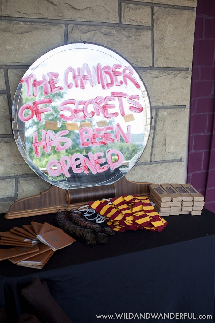 Chamber of Secrets favor table from a Harry Potter Birthday Party on Kara's Party Ideas | KarasPartyIdeas.com (37)