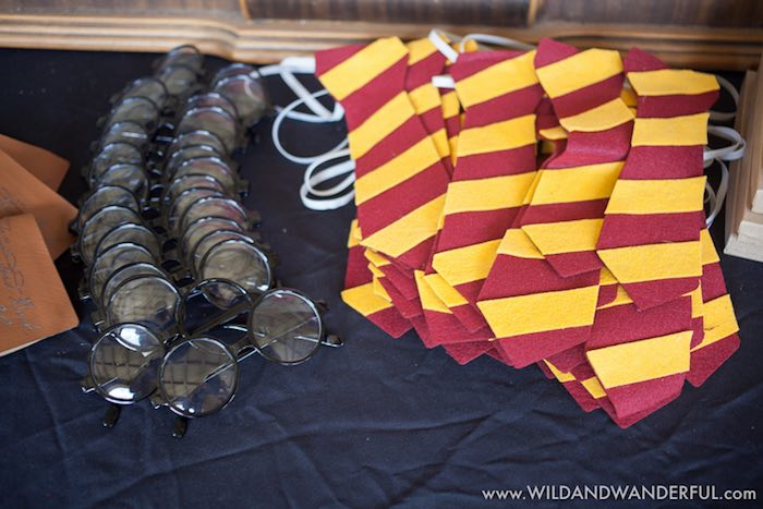 Glasses and tie favors from a Harry Potter Birthday Party on Kara's Party Ideas | KarasPartyIdeas.com (33)