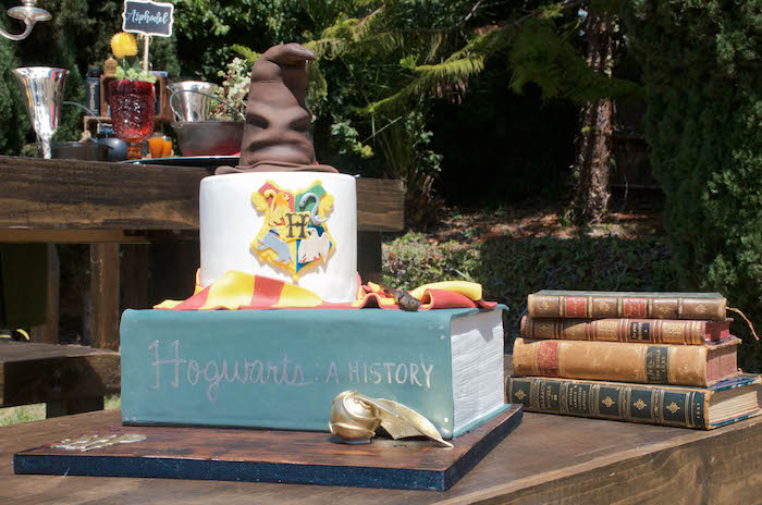 Hogwarts Textbook Cake from a Harry Potter Birthday Party on Kara's Party Ideas | KarasPartyIdeas.com (24)