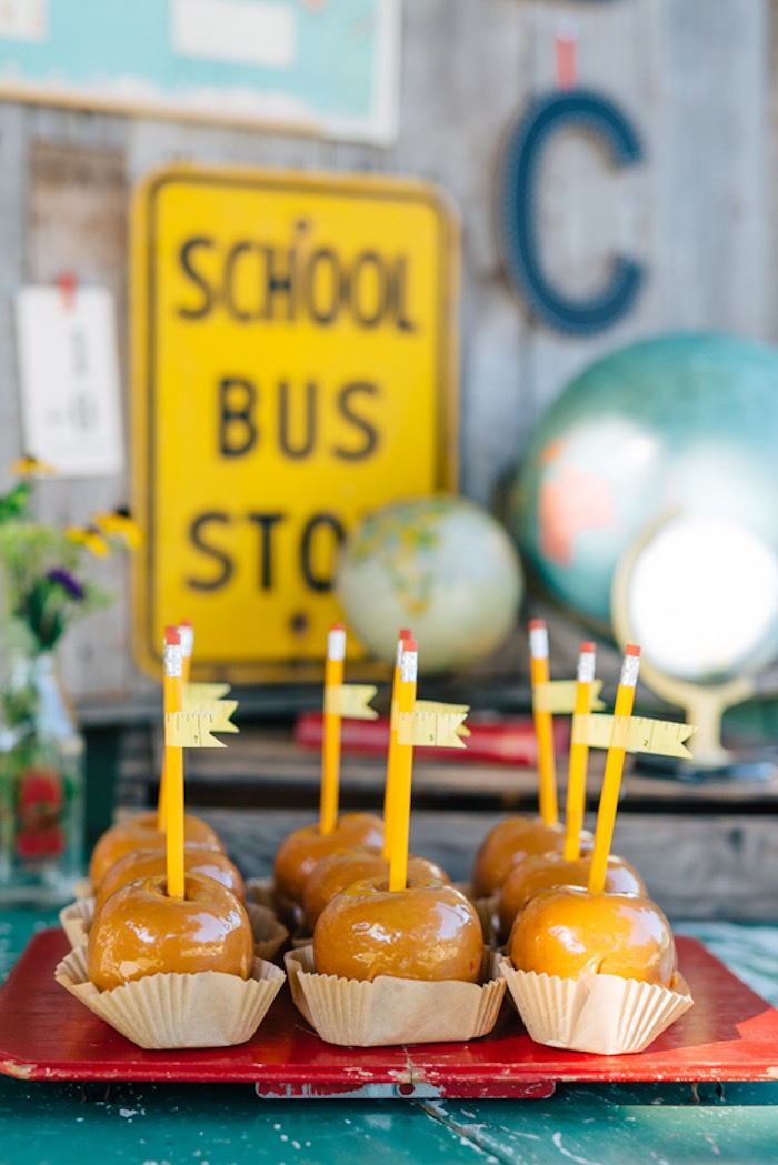 Caramel apples on pencil sticks from aHow to Host a Back to School Party on Kara's Party Ideas | KarasPartyIdeas.com (48)