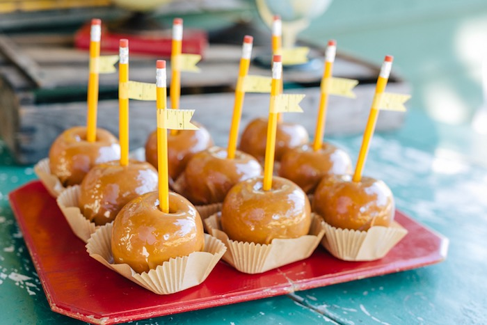 Caramel apples on pencil sticks from a How to Host a Back to School Party on Kara's Party Ideas | KarasPartyIdeas.com (47)