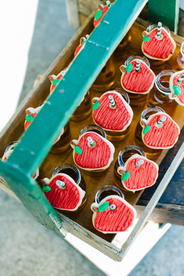 Apple sugar cookies placed on drink bottles from a How to Host a Back to School Party on Kara's Party Ideas | KarasPartyIdeas.com (40)