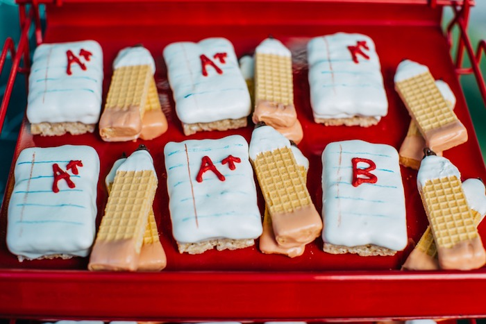 Wafer pencils & lined paper A+ sweets from a How to Host a Back to School Party on Kara's Party Ideas | KarasPartyIdeas.com (37)