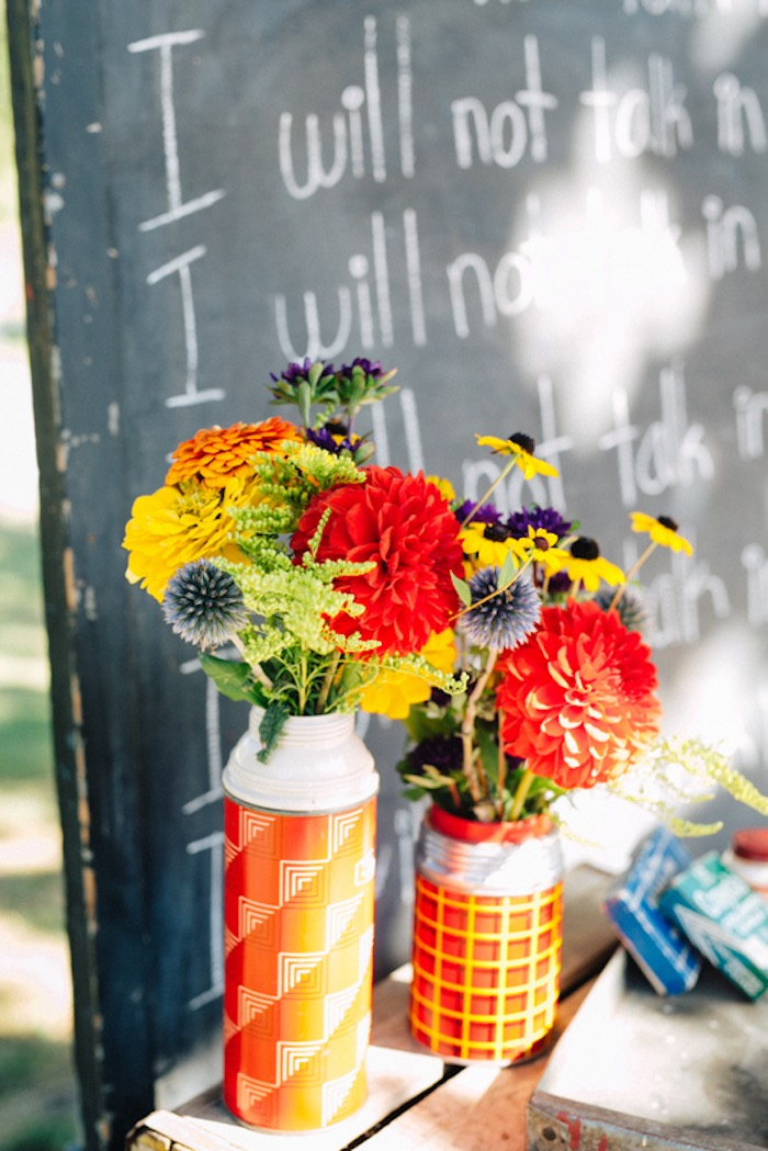 Fresh farm flower centerpieces from a How to Host a Back to School Party on Kara's Party Ideas | KarasPartyIdeas.com (64)