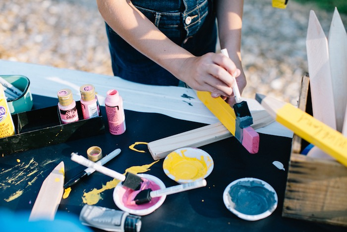 Painting activity from a How to Host a Back to School Party on Kara's Party Ideas | KarasPartyIdeas.com (23)
