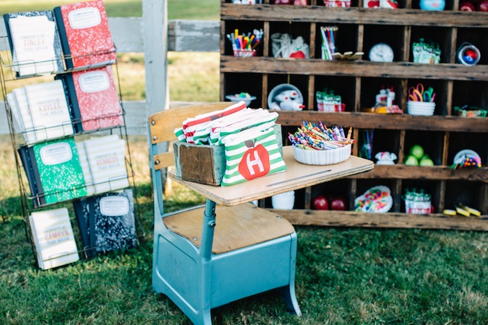 Vintage desk from a How to Host a Back to School Party on Kara's Party Ideas | KarasPartyIdeas.com (20)